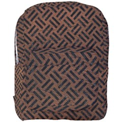 Woven2 Black Marble & Dull Brown Leather Full Print Backpack by trendistuff