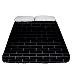 Brick1 Black Marble & Gray Brushed Metal (r) Fitted Sheet (queen Size) by trendistuff