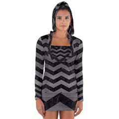 Chevron3 Black Marble & Gray Brushed Metal Long Sleeve Hooded T Shirt