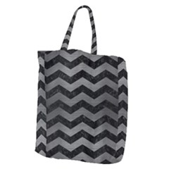 Chevron3 Black Marble & Gray Brushed Metal Giant Grocery Zipper Tote by trendistuff