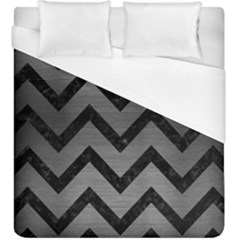 Chevron9 Black Marble & Gray Brushed Metal Duvet Cover (king Size) by trendistuff