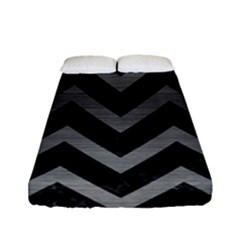 Chevron9 Black Marble & Gray Brushed Metal (r) Fitted Sheet (full/ Double Size) by trendistuff