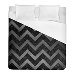 Chevron9 Black Marble & Gray Brushed Metal (r) Duvet Cover (full/ Double Size) by trendistuff
