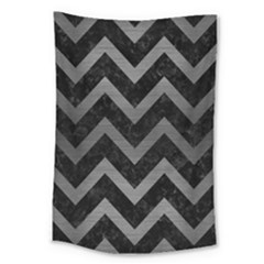Chevron9 Black Marble & Gray Brushed Metal (r) Large Tapestry