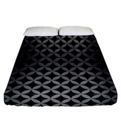 Circles3 Black Marble & Gray Brushed Metal (r) Fitted Sheet (california King Size) by trendistuff