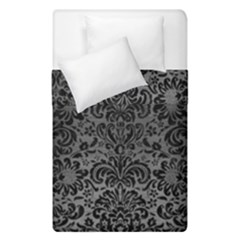 Damask2 Black Marble & Gray Brushed Metal Duvet Cover Double Side (single Size) by trendistuff