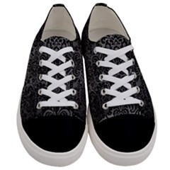 Damask2 Black Marble & Gray Brushed Metal Women s Low Top Canvas Sneakers