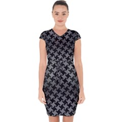 Houndstooth2 Black Marble & Gray Brushed Metal Capsleeve Drawstring Dress