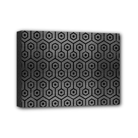 Hexagon1 Black Marble & Gray Brushed Metal Mini Canvas 7  X 5  by trendistuff