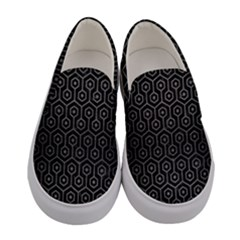Hexagon1 Black Marble & Gray Brushed Metal (r) Women s Canvas Slip Ons