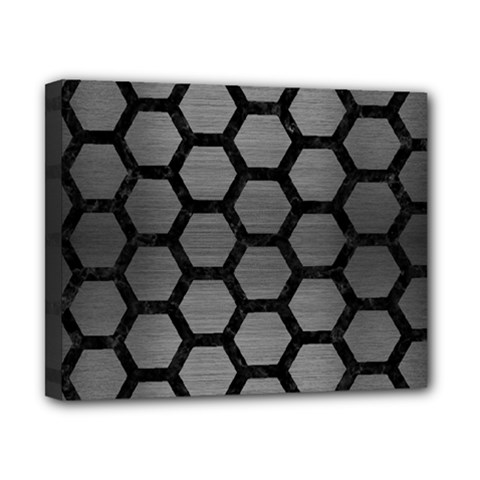 Hexagon2 Black Marble & Gray Brushed Metal Canvas 10  X 8  by trendistuff