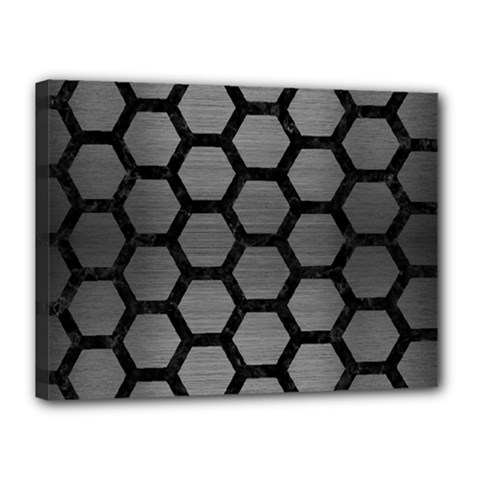 Hexagon2 Black Marble & Gray Brushed Metal Canvas 16  X 12  by trendistuff