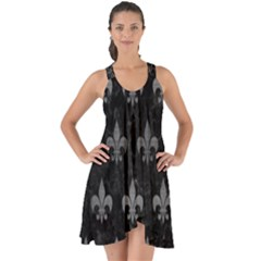 Royal1 Black Marble & Gray Brushed Metal Show Some Back Chiffon Dress by trendistuff