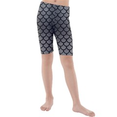 Scales1 Black Marble & Gray Brushed Metal Kids  Mid Length Swim Shorts