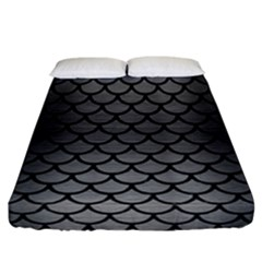 Scales1 Black Marble & Gray Brushed Metal Fitted Sheet (california King Size) by trendistuff