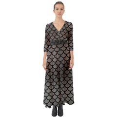 Scales1 Black Marble & Gray Brushed Metal Button Up Boho Maxi Dress