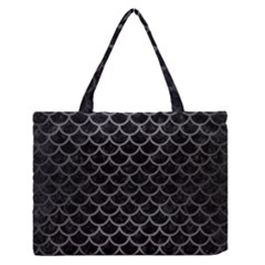 Scales1 Black Marble & Gray Brushed Metal (r) Zipper Medium Tote Bag by trendistuff