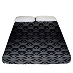 Scales2 Black Marble & Gray Brushed Metal Fitted Sheet (king Size) by trendistuff