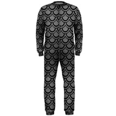 Scales2 Black Marble & Gray Brushed Metal Onepiece Jumpsuit (men)  by trendistuff