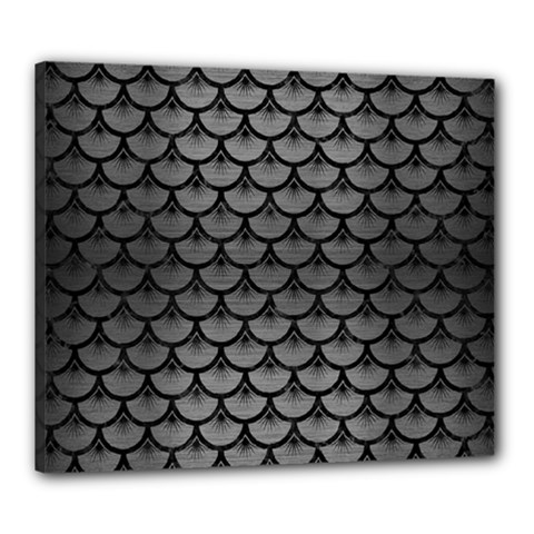 Scales3 Black Marble & Gray Brushed Metal Canvas 24  X 20  by trendistuff