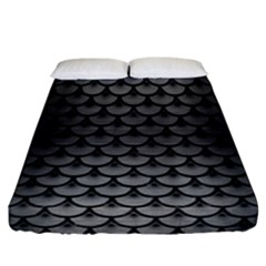 Scales3 Black Marble & Gray Brushed Metal Fitted Sheet (california King Size) by trendistuff