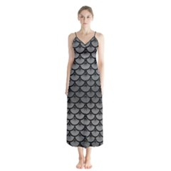 Scales3 Black Marble & Gray Brushed Metal Button Up Chiffon Maxi Dress by trendistuff