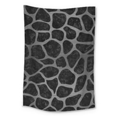 Skin1 Black Marble & Gray Brushed Metal Large Tapestry by trendistuff