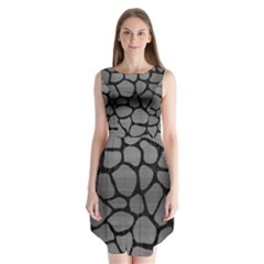 Skin1 Black Marble & Gray Brushed Metal (r) Sleeveless Chiffon Dress