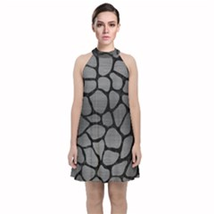 Skin1 Black Marble & Gray Brushed Metal (r) Velvet Halter Neckline Dress  by trendistuff