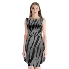 Skin3 Black Marble & Gray Brushed Metal Sleeveless Chiffon Dress