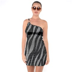 Skin3 Black Marble & Gray Brushed Metal (r) One Soulder Bodycon Dress