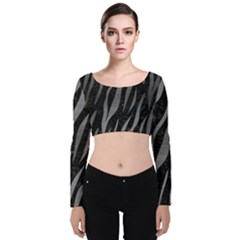 Skin3 Black Marble & Gray Brushed Metal (r) Velvet Long Sleeve Crop Top by trendistuff
