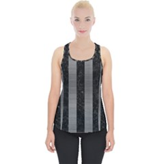 Stripes1 Black Marble & Gray Brushed Metal Piece Up Tank Top