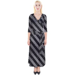 Stripes3 Black Marble & Gray Brushed Metal Quarter Sleeve Wrap Maxi Dress