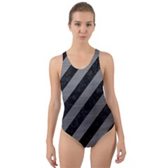 Stripes3 Black Marble & Gray Brushed Metal (r) Cut Out Back One Piece Swimsuit