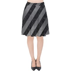 Stripes3 Black Marble & Gray Brushed Metal (r) Velvet High Waist Skirt by trendistuff
