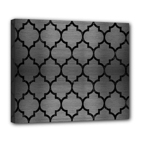 Tile1 Black Marble & Gray Brushed Metal Deluxe Canvas 24  X 20   by trendistuff