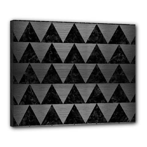 Triangle2 Black Marble & Gray Brushed Metal Canvas 20  X 16  by trendistuff