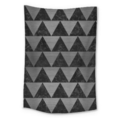 Triangle2 Black Marble & Gray Brushed Metal Large Tapestry by trendistuff