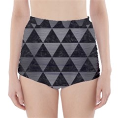 Triangle3 Black Marble & Gray Brushed Metal High Waisted Bikini Bottoms