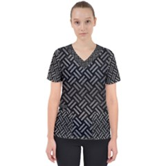 Woven2 Black Marble & Gray Brushed Metal (r) Scrub Top