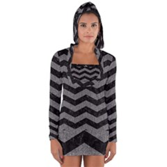 Chevron3 Black Marble & Gray Denim Long Sleeve Hooded T Shirt