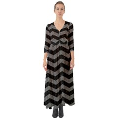 Chevron3 Black Marble & Gray Denim Button Up Boho Maxi Dress
