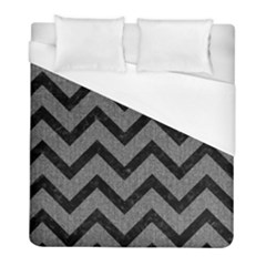 Chevron9 Black Marble & Gray Denim Duvet Cover (full/ Double Size) by trendistuff