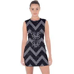 Chevron9 Black Marble & Gray Denim (r) Lace Up Front Bodycon Dress