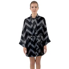 Chevron9 Black Marble & Gray Denim (r) Long Sleeve Kimono Robe by trendistuff