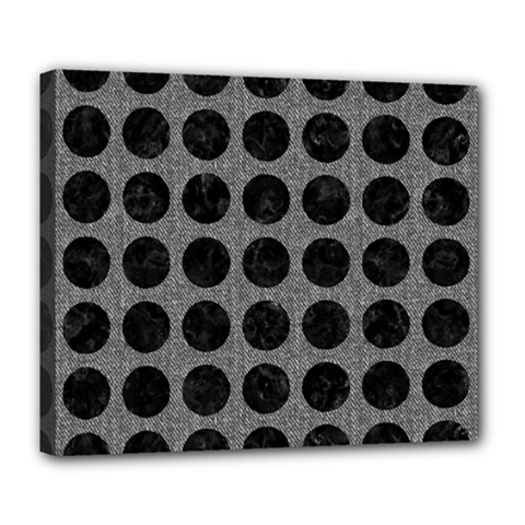 Circles1 Black Marble & Gray Denim Deluxe Canvas 24  X 20   by trendistuff