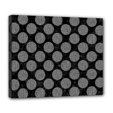 Circles2 Black Marble & Gray Denim (r) Deluxe Canvas 24  X 20   by trendistuff