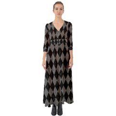 Diamond1 Black Marble & Gray Denim Button Up Boho Maxi Dress