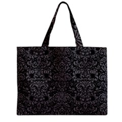 Damask2 Black Marble & Gray Denim (r) Zipper Mini Tote Bag by trendistuff
